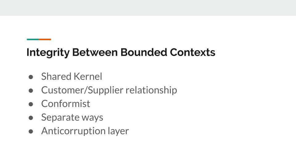 Integrity between bounded contexts