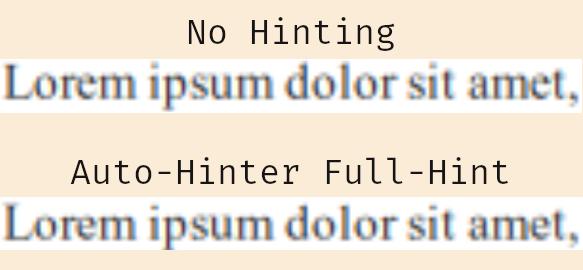 Test Hinting vs No-Hinting