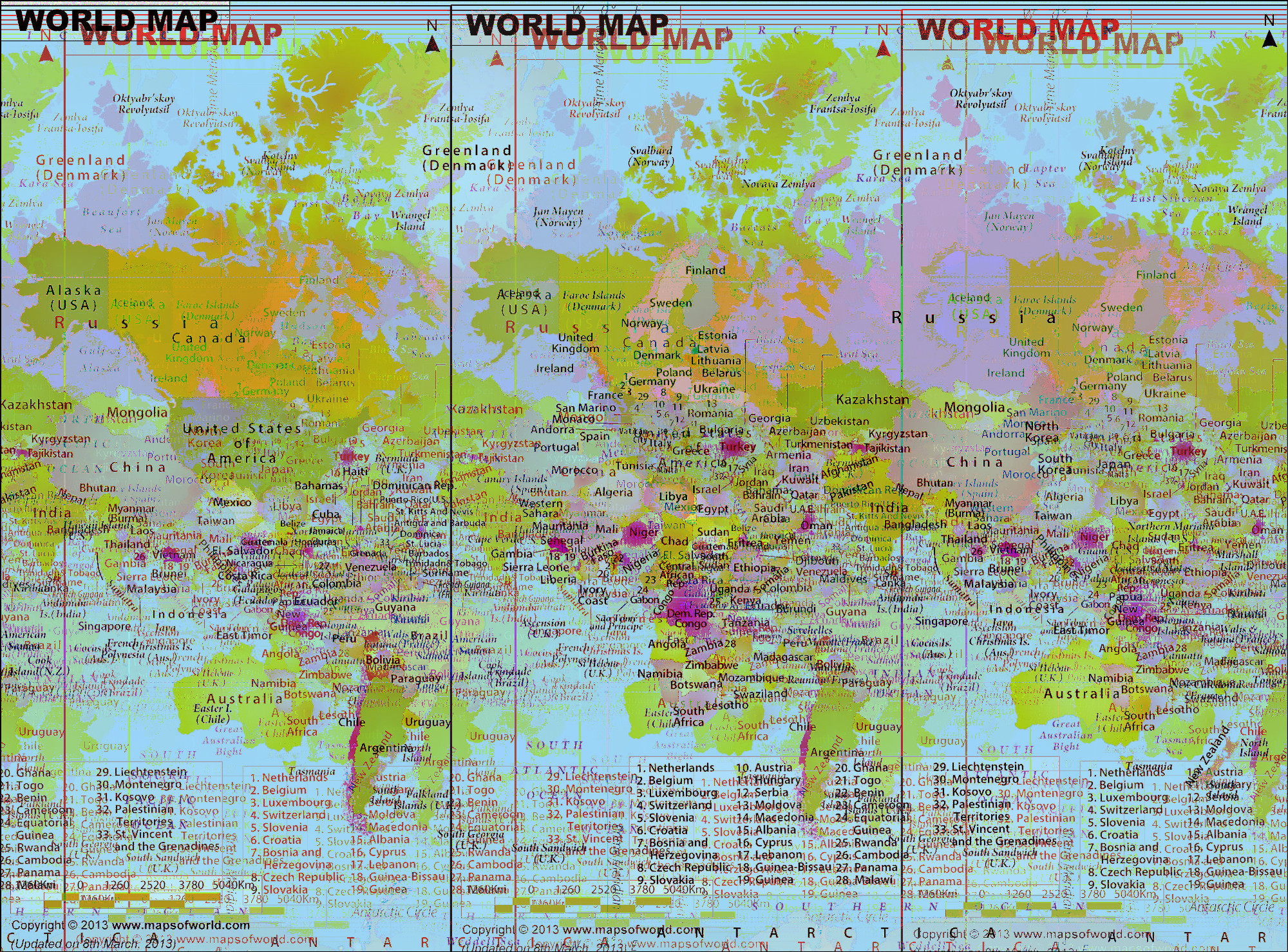 World Map, Sonification echo effect planar