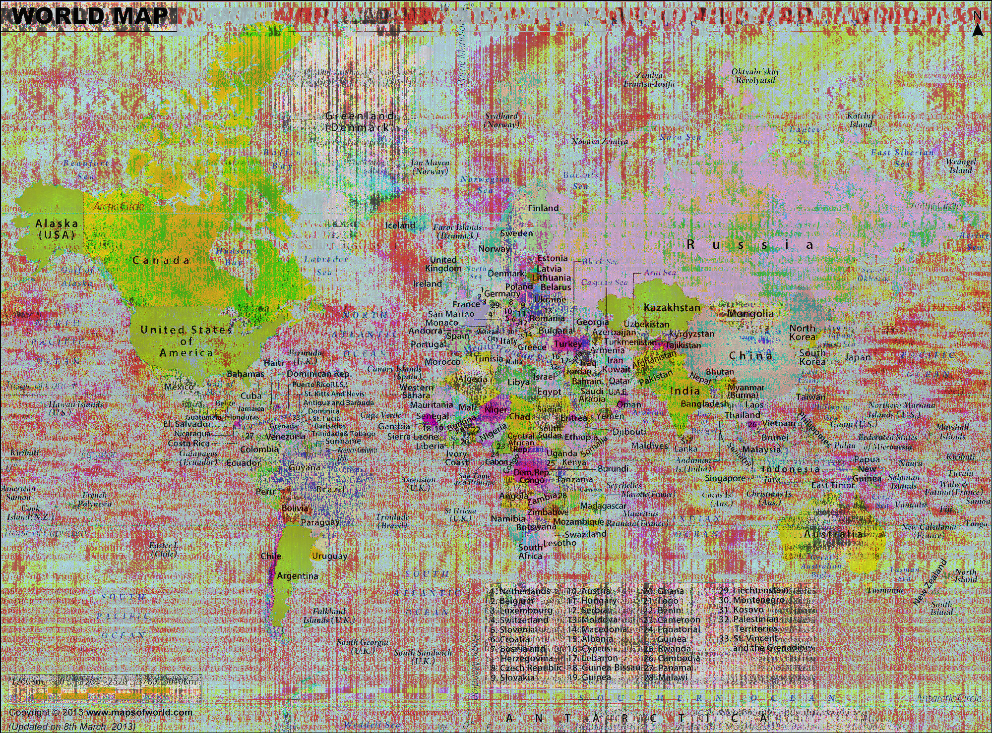 World Map, Sonification reverb effect interleaved