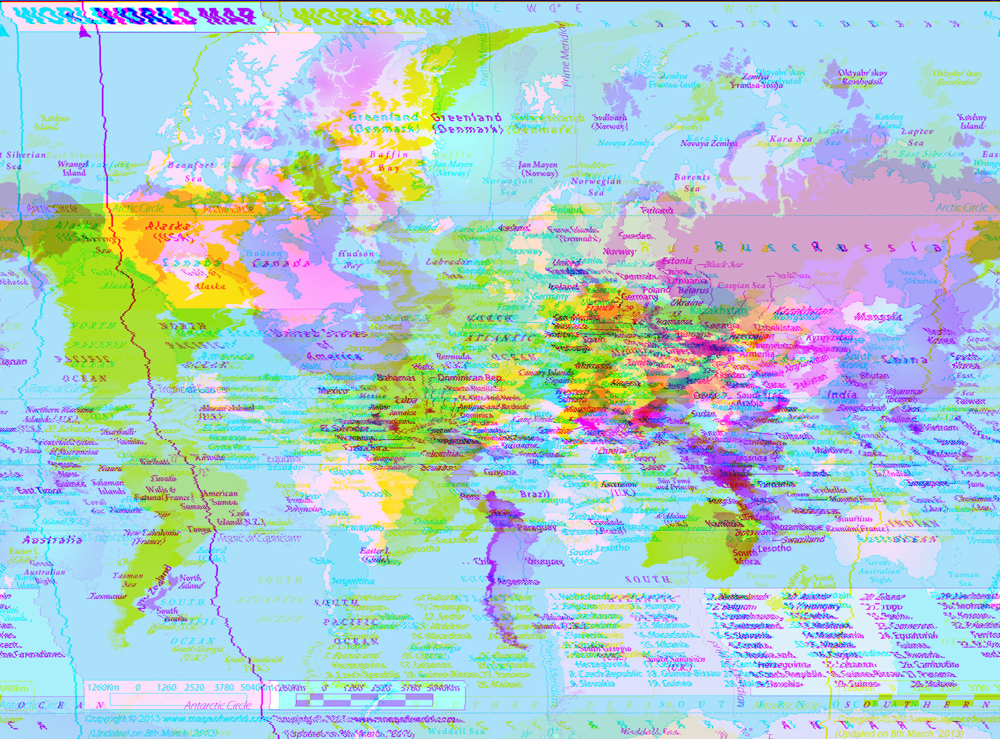 World Map, WordPad effect planar